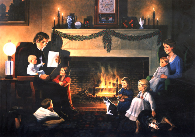 Christmas Eve 1822, an original oil painting © 1996 by Thomas H. Carlisle and Harold R. Schuler